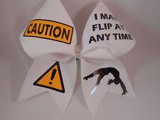 Cheer Bow Caution I May Flip At Any Time Crystal Center by BlingItOnCheerbows
