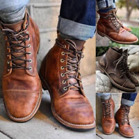 Retro Mens Martin Ankle Boots Leather Combat Lace Up Military Army Biker Shoes