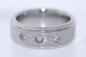 Men's Triton 8mm Cobalt 0.12ctw Diamond Accent Hammered Center Band Ring