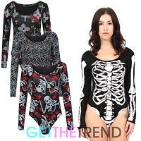 Womens Halloween Skeleton Print Leotard Top Ladies Bodysuit Spooky Bones Top
