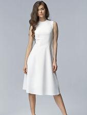 Robe Femme Ajustée et Évasée Écru Midi sans manches Élégante Nife S62 Taille 36