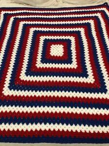 NEW Handmade Crocheted Granny Afghan Blanket RED WHITE & BLUE