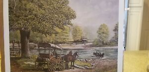 Waiting with the Mail Fred Thrasher Postal Service Mule wagon country store deer
