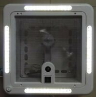 White 12V Shower Roof Hatch LED Lights Vent Exhaust Fan Caravan RV Motor home