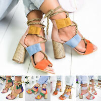 Womens Strappy Thong Block High Heels Sandals Summer Gladiator Casual Shoes Size