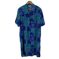 Mirrors Womens Vintage Shirt Dress Plus Size 16 Floral Blue Green Short Sleeve