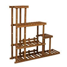 Multi Tier Flower Rack Plant Stand Wood Shelves Display Shelf In/Outdoor Wood