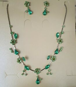 Elegant Wedding Party Floral Necklace and Earrings Sets Green Colour