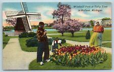 Postcard MI Holland Michigan Windmill Park at Tulip Time c1940s AF8