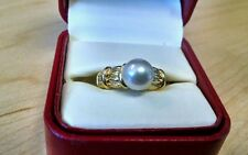 Mikimoto pearl ring 18K gold bamboo design