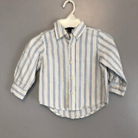 Baby Gap White Blue Striped Button Down Long Sleeve Shirt Size 18-24 Months