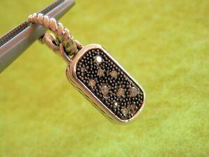 David Yurman SSilver Pave Diamond Midnight Melange MINI Dog Tag Enhancer Charm