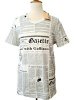 JOHN GALLIANO T-Shirt Newspaper Print Dior White US/EU L Large Italy $425