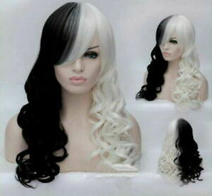 Women Wig New Cruella Deville Cosplay Wig Black White Synthetic Long Curly Wigs