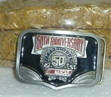 NASCAR 50th Anniversary pewter limited edition belt buckle Made in America USA