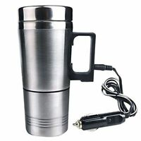 Stainless Steel Electric Kettle Water Heater Mug Car Cigarette Lighter Plug Cup