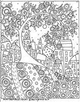 RUG HOOK PAPER PATTERN Swirl Tree Bird and Houses FOLK ART ABSTRACT Karla Gerard