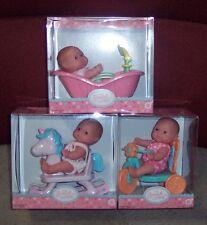 "NEW 3 Berenguer Dolls Lots To Love Babies 5"" Mini PlaySets Tub Trike Horse VHTF"