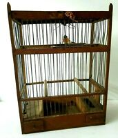 "Antique Bird Cage Lightweight Brown Wood & Metal 15 1/2"" tall Handmade Bird Cage"