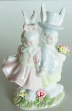 Rare! Home Interiors Homco: Easter Finery Porcelain Bunnies #11869-03. Nib!