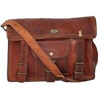 "11""Women's Messenger Handmade Briefcase Satchel Vintage Bullhide Natural Leather"