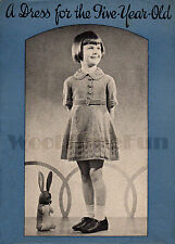 Knitting Pattern Vintage 1930 S Filles Robe. Col, ceinture, manches courtes.