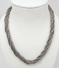 "Suarti Bali Sterling Twisted Wheat Byzantine Chain 18"" Necklace 166.8g"