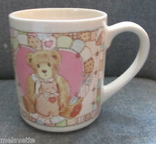 "1992 Cherished Teddies ""A Friend is Forever"" Quilt Quilting Stitching Sewing Mug"