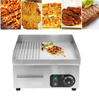 2000W Commercial Electric Griddle Countertop Kitchen Hotplate Stainless Steel