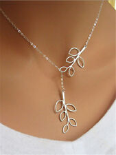 Stylish Chic Women's Openwork Double Leaves Silver Pendant Adjustable Necklace