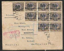 POLAND POLSKA - 1923 REGISTERD COVER TO IRELAND - 9 STAMP FRANKING