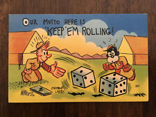 Steamboat Larry postcard Keep Em Rolling ARMY Series O Comic postcard