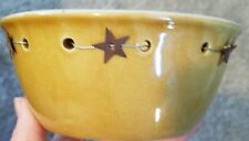Ceramic Country Small Mustard Colored Yellow Decorative Bowl With Metal Hearts