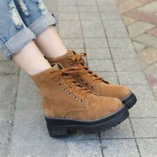 Women Retro Round Toe Lace up Platform Martin Ankle Boots Chunky Creepers Shoes