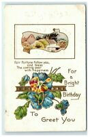 Postcard For a Bright Birthday To Greet You embossed floral village 1910 C53