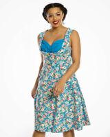 Dress Lindy Bop Ophelia UK 12 Bnwot Sky Blue Floral 1950's Picnic Flattering