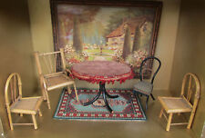 Antique Dollhouse VICTORIAN CHAIR TABLE Bamboo Japan China Head Doll Furniture