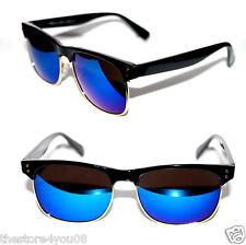 Men's Women's Soho Super Clubmaster Sunglasses Black Gold blue mirror lens 421
