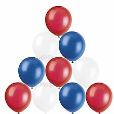 30 Red White Blue Helium Balloons,British,French,American Themed Decorations