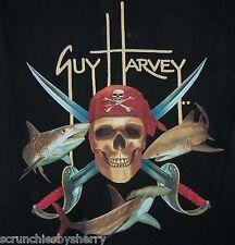 Guy Harvey Fishing Camiseta Calavera Pirata Shark Pez Negra Bluewater Talla Med