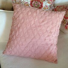 Pink Smocked Euro Pillow Cushion Sham Case Cover Shabby Chic White Ice Grey Lstd