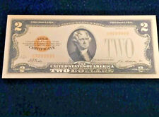 """☆ <MINT> OLD STYLE """"GOLD"""" $2.00 GOLD CERTIFICATE Two DOLLAR Rep.*Banknote Bill☆"""