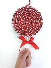 Red & White Lollipop Candy Christmas Ornament Shop Glitter Bow Spiral Lg R