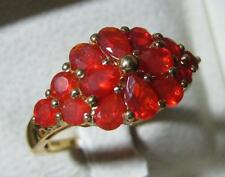 STUNNING JALISCO FIRE OPAL FLOWER RING 14K YGOLD OVER STERLING SILVER