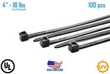 "100 PCS 4"" in Black 18lbs Network Cable Cord Wire Tie Zip Ties Nylon UV K-100MU"