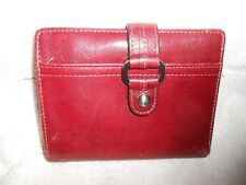 Fossil Leather Passport Wallet Bifold Burgundy Zippers for dollars