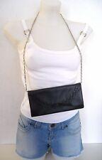 pochette ♥ TULA T2 ♥ sac cuir noir bandoulière chainette argentée Femme