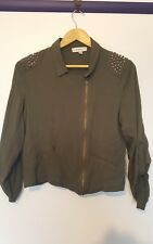 Temt womens size 10 olive military green zip up embellished roll sleeve top
