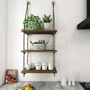 3 Tier Rope Floating Shelves Farmhouse Living Room Outdoor Decoration Wall Shelf