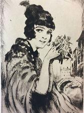 Estampe pointe sèche Lajos Szanto 1889-1965 portrait femme Venise Italie Italia